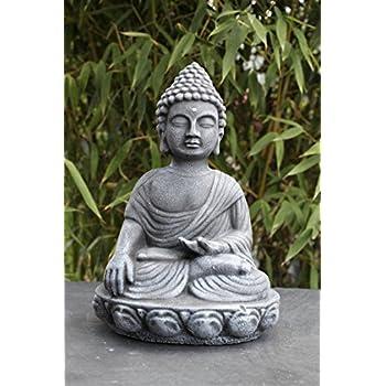 Gl cksbuddha figur schwarz schiefergrau buddha statue - Garten buddha frostsicher ...
