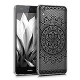 kwmobile Funda para Huawei Y6 II - Carcasa de TPU para móvil y diseño de Flores Aztecas en Negro/Transparente