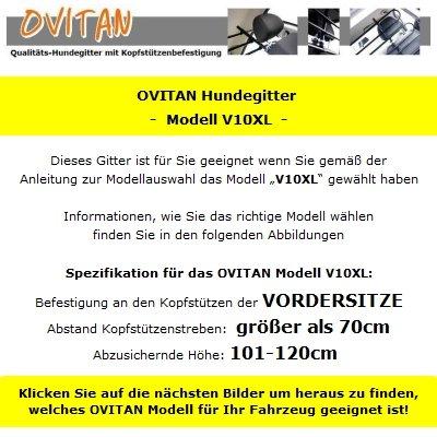 OVITAN Hundegitter XL fürs Auto 10 Streben universal zur Befestigung an den Kopfstützen der Vordersitze - für alle Automarken geeignet - Modell: V10XL -