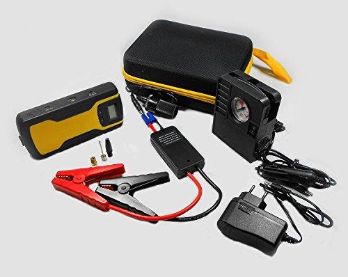 Universal Batterie-Starthilfegerät | Starterbatterie | Mobile Starthilfe Modell G02 mit 11.000mAh Multifunktional | Max. 12V/400A Leistungsaufnahme | als Powerbank für Smartphone/Tablet oder zum Laden der Autobatterie einsetzbar | mit integrierter LED Taschenlampe | kleiner Kompressor zum Luft prüfen