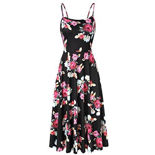 kleid Damen Ärmelloses Blumen Swing Sommerkleid verstellbaren Spagettiträgern Cocktailkleid ()