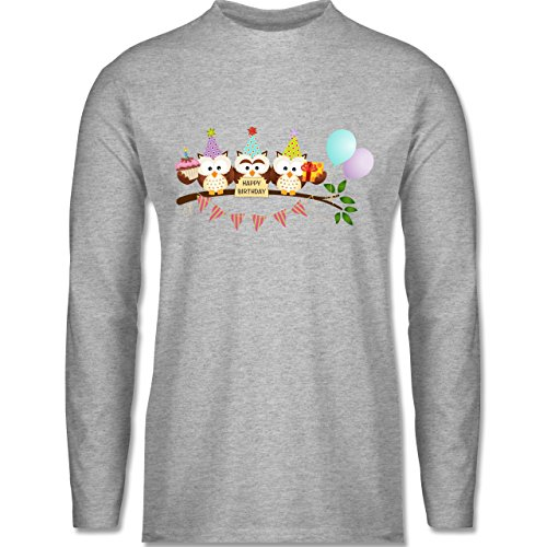 Shirtracer Geburtstag - Party Eulen Happy Birthday - Herren Langarmshirt Grau Meliert
