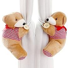Happy cherry - (Set de 2) Abrazaderas Hebillas Tieback de cortinas con Cuerdas para Habitaciones Cuarto de bebés niños - Rojo