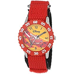 """Disney Kids' W000084 """"Time Teacher"""" Cars Stainless Steel Watch With Red Nylon Band"""