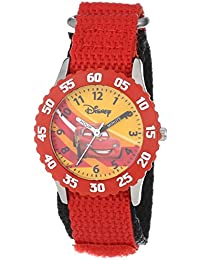"Disney Kids' W000084 ""Time Teacher"" Cars Stainless Steel Watch With Red Nylon Band"