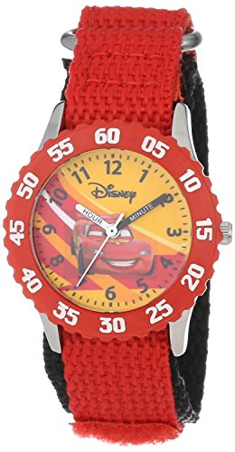 Disney Kids' W000084 Time Teacher Cars Stainless Steel Watch With Red Nylon Band (Lightning Mcqueen Uhr)