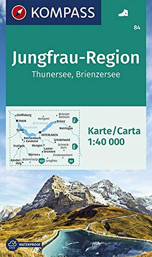 KOMPASS Wanderkarte Jungfrau-Region, Thunersee, Brienzersee: Wanderkarte GPS-genau. 1:50000: Wandelkaart 1:40 000 (KOMPASS-Wanderkarten, Band 84) - 3 84