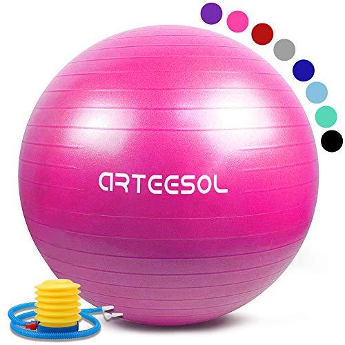 arteesol Gymnastikball 45cm/55cm/65cm/75cm Yoga Ball Auti Burst Core Gymnastikball mit Schnellpumpe für Pilates Training Fitness Geburt Schwangerschaft (Rosa, 75cm)