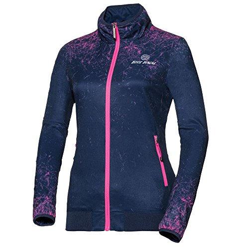 BIDI BADU Tennis Jacket Women - Blue - Training Jacket - Sport Jacket - Stand-up Collar - Side Zipper Bags - Liza Tech Jacket - Darkblue/Pink (SP18),