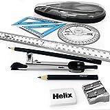 Helix Oracle Instruments de mathématiques-Ensemble de 9pièces-Équerre, règle, Compas, crayons, taille-crayon, gomme et rapporteur