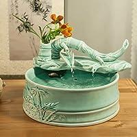 JHBJ Bambù creativo decorazione ceramica acqua Feng Shui Fontana Fish Tank umidificatore piccole imbarcazioni artigianato decorazione