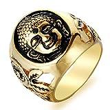 Epinki Herren Ringe Titanstahl Vertrauensring Buddha Shakyamuni Kopf Trauringe Bandringe Gold Gr.62 (19.7)