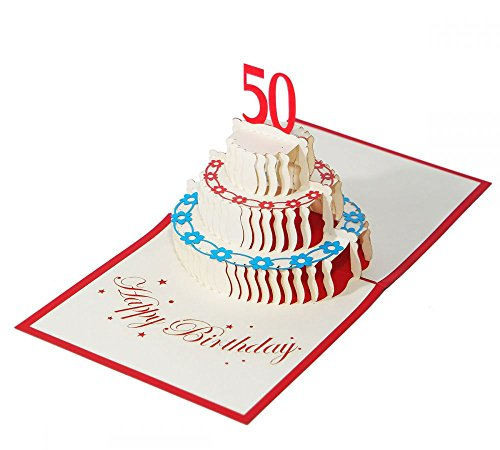 """3D KARTE\""""Zum 50. Geburtstag\"""" I Pop-Up Karte als Geburtstagskarte I Klappkarte als Geldgeschenk, Glückwunschkarte, Geschenk"""