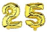 SiDeSo® Folienballon XXL GOLD Heliumgeeignet Party Geburtstag Jahrestag Hochzeitstag Jubiläum Zahlenluftballon Luftballon Zahl (Zahl 25)