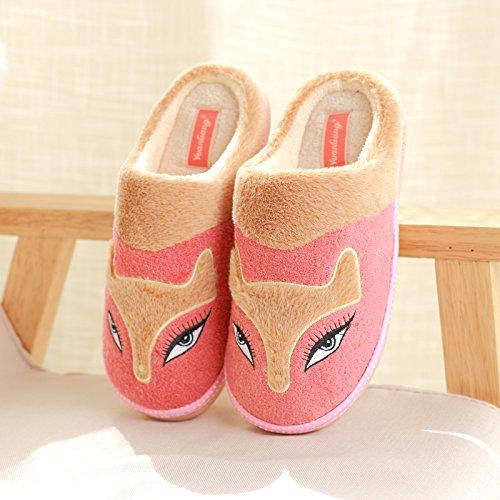 DogHaccd pantofole,Inverno pantofole metà femmina con thick Cartoon carino coppie home anti-slip caldo cotone pantofole Il rosso3