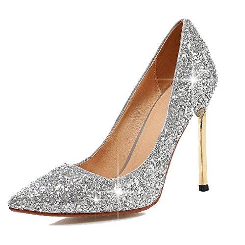Enmayer - Scarpe da donna, in pelle PU, appuntite e con tacco a stiletto, argento (Silver), 38 EU
