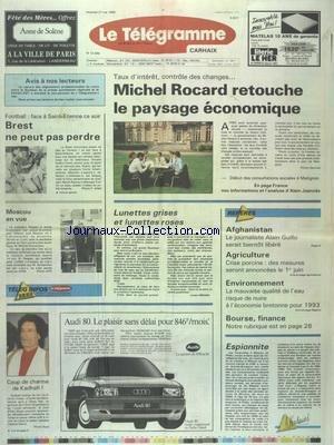 TELEGRAMME (LE) [No 13369] du 27/05/1988 - ROCARD RETROUCHE LE PAYSAGE ECONOMIQUE - AFGHANISTAN - GUILLO SERAIT BIENTOT LIBERE - LA CRISE PORCINE - LA MAUVAISE QUALITE DE L'AIR - LES SPORTS - FOOT