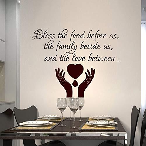 yaoxingfu Zitat Wandtattoos Gebet Segnen Wandaufkleber Abnehmbare Vinyl Gebet Zitat Tapete Home Kitchen Decor Familie Segnen Aufkleber Eine Karte Farbe 57x44 cm