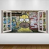 EXTRA GRANDE Graffiti giallo Homer Simpson Cultura 3D Vinile Sticker - Decalcomania Gigante da Parete in 3D - Adesivo a Base di Colla Vinilica - Quadri con Finestre - Adesivi da Parete 3D - Vinile di Arte Murale - Quadri per Muro - Poster Giganti -140cm x 70cm