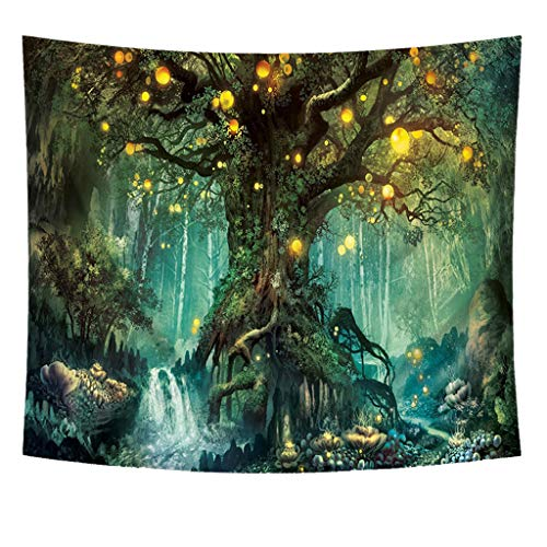 Neuheit Wandbild, LeeMon Wandteppich Dschungel Kreis Fantasy Malerei Wandteppich Wandteppich Wand Dekor Home Decor Strand Decke (B) -