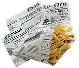 Mondial-Fete - 50 Cornets Frites Papier Alimentaire imprimé Journal - 13 x 13 cm