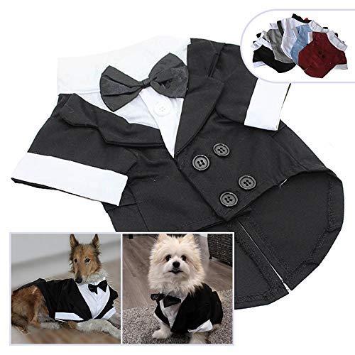 longlongpet Haustierkleidung für Hunde und Katzen, Smoking mit Schleife, Hochzeitsanzug, Partykostüme für kleine, mittelgroße und große ()