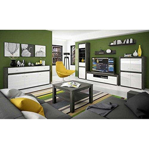 JUSThome SEVILLA III Wohnzimmerset Wohnzimmermöbel Wohnwand Farbe: Kiefer / Weiß Hochglanz