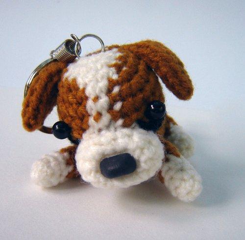 Handgefertigte Häkelmütze Hund Schlüsselanhänger/Charm Boxer (Boxer Stricken)