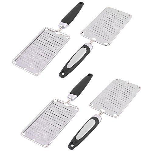 DealMux Kunststoffgriff Home Küche Knoblauch-Ingwer Käsereibe Slicer Peeler 4pcs Silber - Knoblauch-peeler Slicer