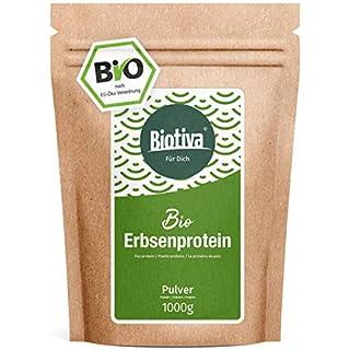 Erbsenprotein-Pulver (Bio,1kg) - 83% Proteingehalt - 100% Erbsen-Proteinisolat - Höchste Bioqualität - Frei von Gluten, Soja und Laktose - Abgefüllt in Deutschland (DE-ÖKO-005)