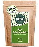 Erbsenprotein-Pulver (Bio,1kg) - 83% Proteingehalt - 100% Erbsen-Proteinisolat - Höchste Bioqualität - Frei von Gluten, Soja und Laktose - Abgefüllt und kontrolliert in Deutschland (DE-ÖKO-005)