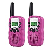 QZT T-388 8 Kanal Kinder Walkie Talkies Transceiver Twin Walkie Talkies UHF 400-470 MHZ 2-Wege Funksprechanlage mit LED-Lichtanzeige (Rosa)