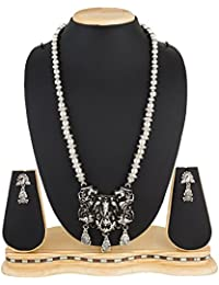 The Luxor German Oxidised Silver Plated Temple Jewellery Necklace Set For Women And Girls