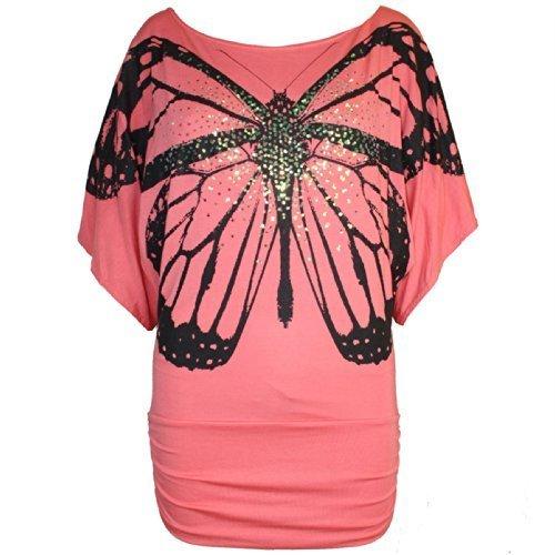 Damen Schmetterling Aufdruck Fledermausärmel Seite Rüschen-top Damen Offene Schulter Bardot Paillette Freizeit Party T-shirt Übergrößen Koralle