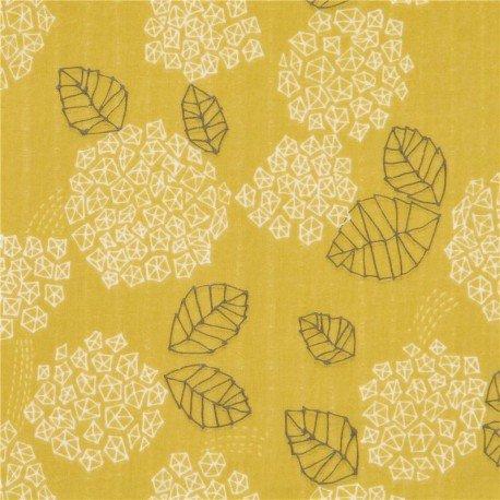 Lime green double gauze white grey shapes leaf Kokka fabric (per 0.5 meter unit)