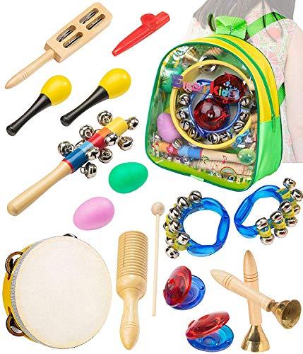 Musikinstrumente Kinder Set 15 Stück Holz Percussion Set Schlagzeug & Schlagwerk Rhythmus Band Werkzeuge