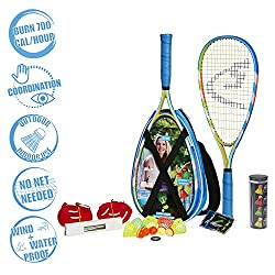Speedminton® S700 Set - Original Speed Badminton/Crossminton Allround Set inkl. 5 Speeder®, Spielfeld, Tasche