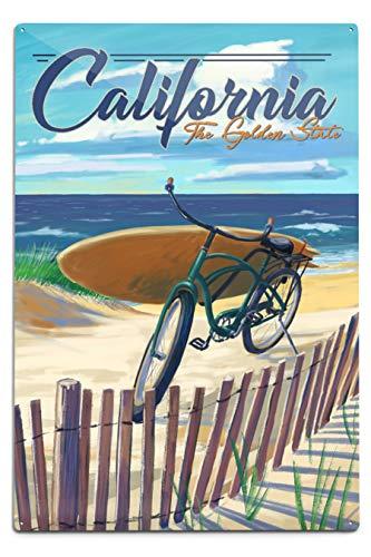 Lantern Press California - The Golden State Beach Cruiser on Beach 12 x 18 Metal Sign Multi - Cruiser Beach Aluminium
