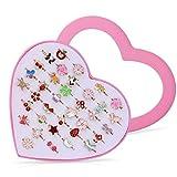 Czemo 36cps Bagues Enfants Fille Réglables Bague pour Enfant avec Boîte De Coeur Rose Filles Bijoux Cadeau Bande Dessinée Fête