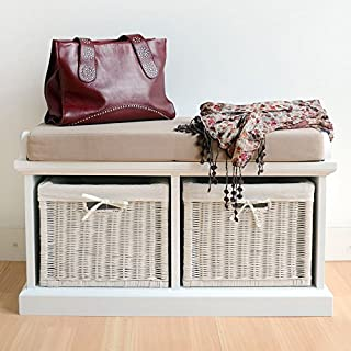 Tetbury White Storage Bench with Cushion. Solidly built hallway bench with 2 storage baskets and cushion seat. FULLY ASSEMBLED