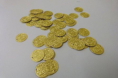 Münzen Metall für Bauchtanz-Kostüm, Dekoration, Schmuck, Piraten-Schatz, Piraten-Gold, Bastelbedarf (21 mm Durchmesser) (Närrisches Werte)