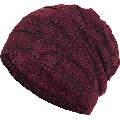 Compagno warm gefütterte Beanie Wintermütze Flechtmuster unifarben oder meliert Einheitsgröße Mütze, Farbe:Weinrot meliert