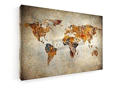 Die Welt - 60x40 cm - Leinwandbild auf Keilrahmen - Wand-Bild - Kunst, Gemälde, Foto auf Leinwand -