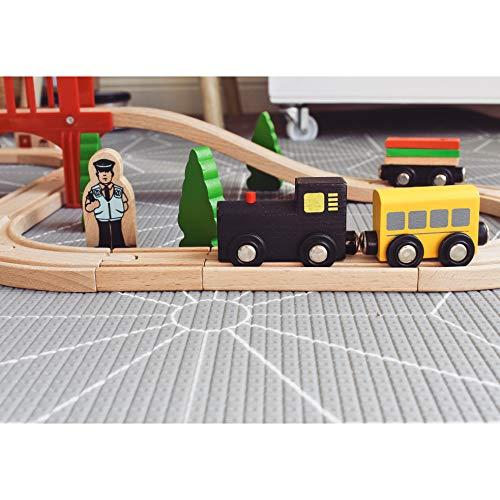 Tiny Land Wooden Train Set for Toddler, Toy Tracks & Engine Starter Pack (39 pcs)