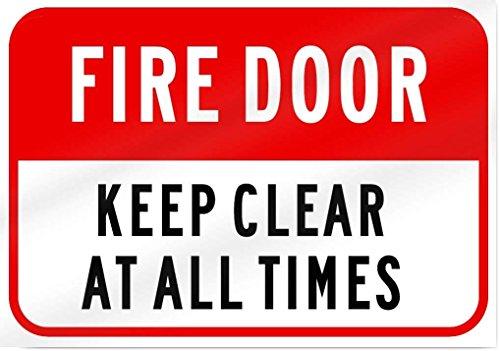 Eugene49Mor Fire Door Keep Clear at All Times Aluminium Metall Schild-35,6cm Breit x 25,4cm Hoch-UV-geschützt und Wetterfest -