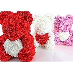 Blumenhandel Nadir Gezer 40cm Rosane künstliche Rosenbären mit weißem Herz 40cm inklusive Geschenkbox – Rose Bear with…