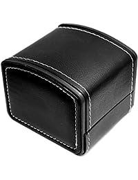 Cuero Sintético PU Caja de Reloj Cajas Para Relojes Con Cojín Regalo Joyero Pulseras Caja de Brazaletes(10cmx9cmx8cm), Negro