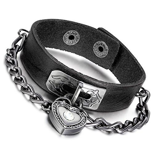 Flongo Bracelet Alliage Cuir Corde Chaîne Coeur Serrur Amour Couleur optionnel Fantaisie Bijoux Cadeau pour Femme Homme Brun & Noir(2 PCS)