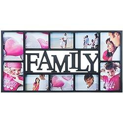 Cadre à inscription 'Family' Cadre photo Galerie photos Collage de photos - cadre pour plusieurs photos Support pour photos de mariage arbre généalogique Amour Enfants Portra noir