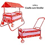 Cradle For Baby With Mosquito Net & Swing Cum Babies Crib Bassinet Jhula (RED With Hood)